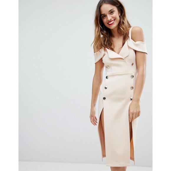 ASOS Tux Cold Shoulder Button Front Mini Dress